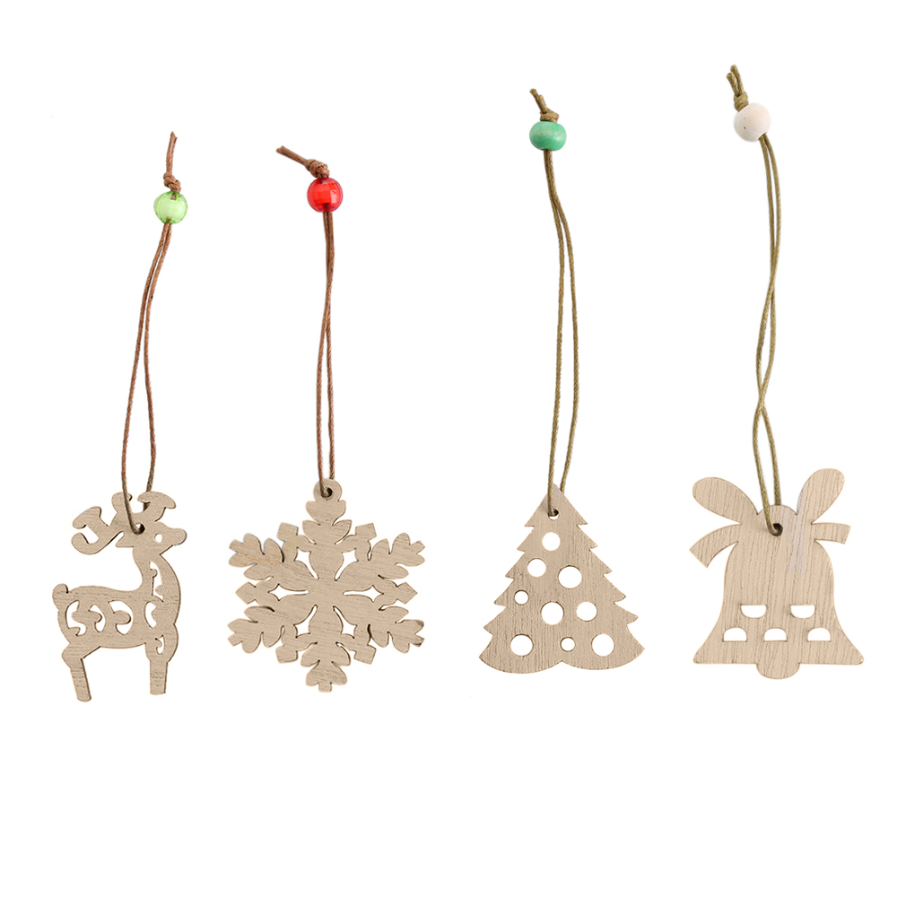 4pcs/set Assorted Christmas Tree Ornament Wooden
