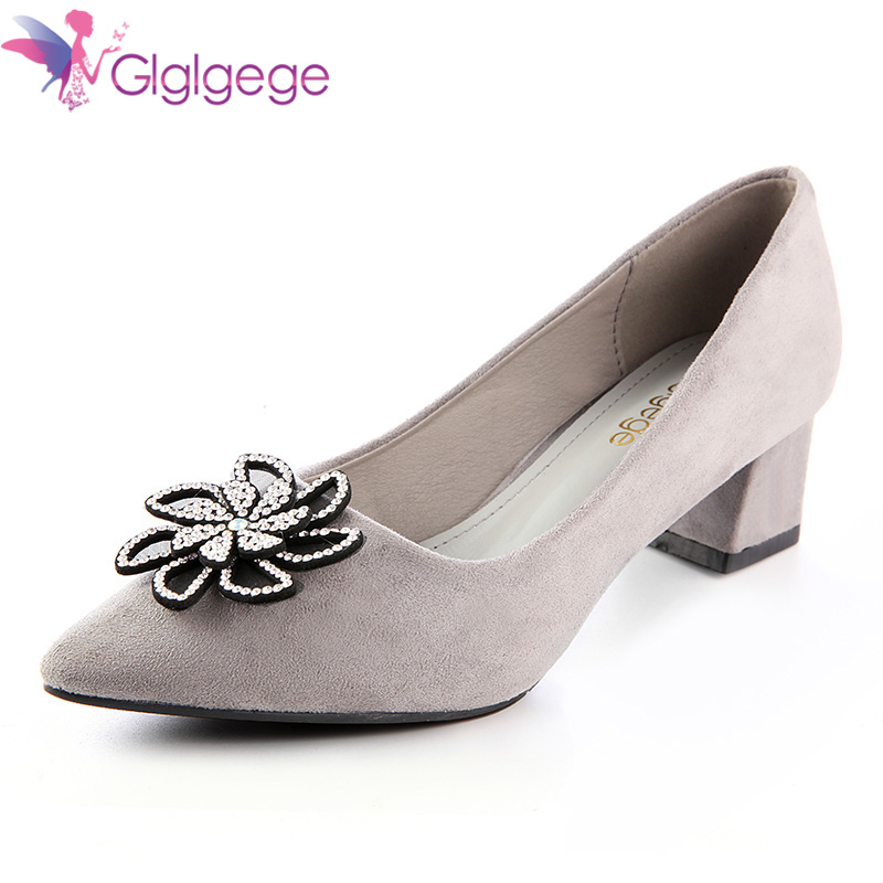 Glglgege 2018 Fashion Rough with Ankle Thick Heel Women Shoes Square Pumps Women Pointed Toe Work Ladies Shoes Handmade Diamond famiao 2018 women pumps ankle strap thick heel women shoes square toe mid heels dress work pumps comfortable ladies shoes