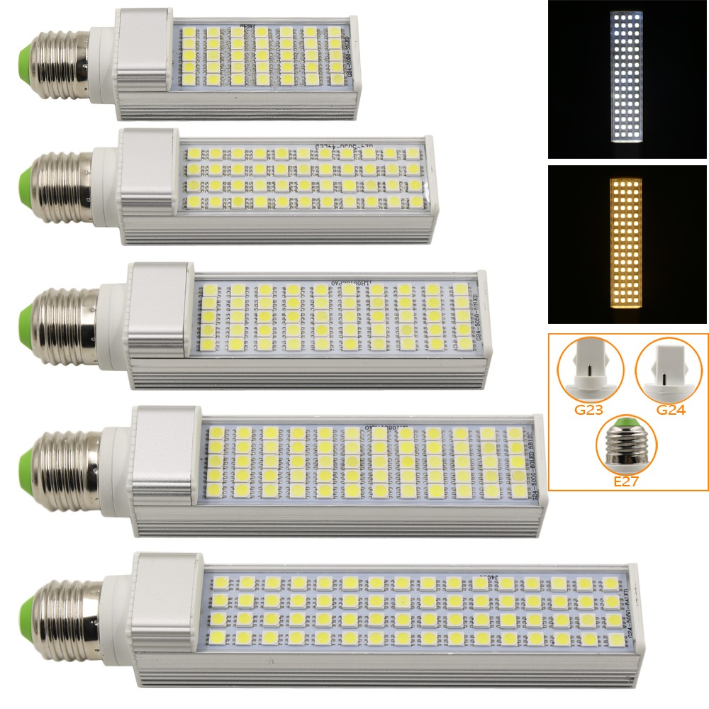 Ultra Bright 9W 12W 13W 15W 16W LED Corn Lamp AC85-265V E27 G23 G24 SMD5050 LED Spot Light Lamp For Home Lighting 180 Degree free shipping 30 pcs g24 g23 e27 12w smd 5050 60 led pl corn bulb led plc droplight 930lm led transverse inserted light
