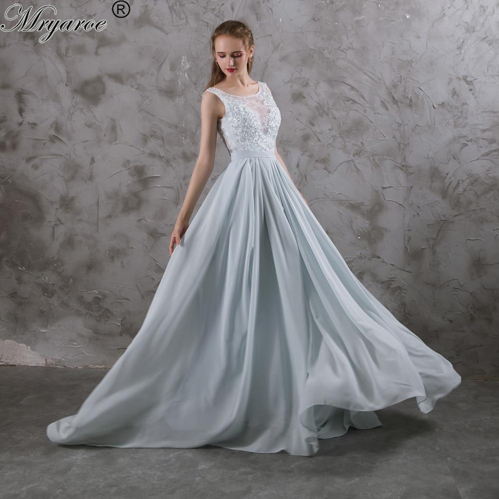 Mryarce Real Picture 2017 Sleeveless Dusty Blue Wedding Dress Asymmetry Flowy Chiffon Skirt Open