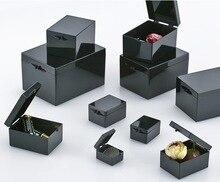10 części/partia 3.8x2.9x2.2 cm czarny osłony przed światłem pudełka prostokątny pojemnik na próbki mała biżuteria pudełko do przechowywania kosz na śmieci