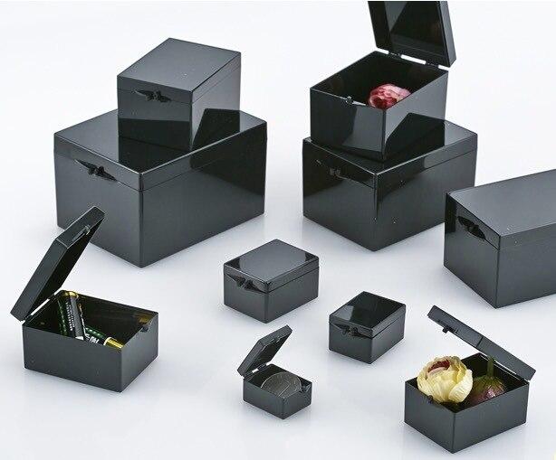 10 pezzi/lottp 3.8x2.9x2.2 cm Nero Luce Schermatura Scatole Rettangolari Scatola di Campione di Piccoli Gioielli Scatola di Immagazzinaggio Bin