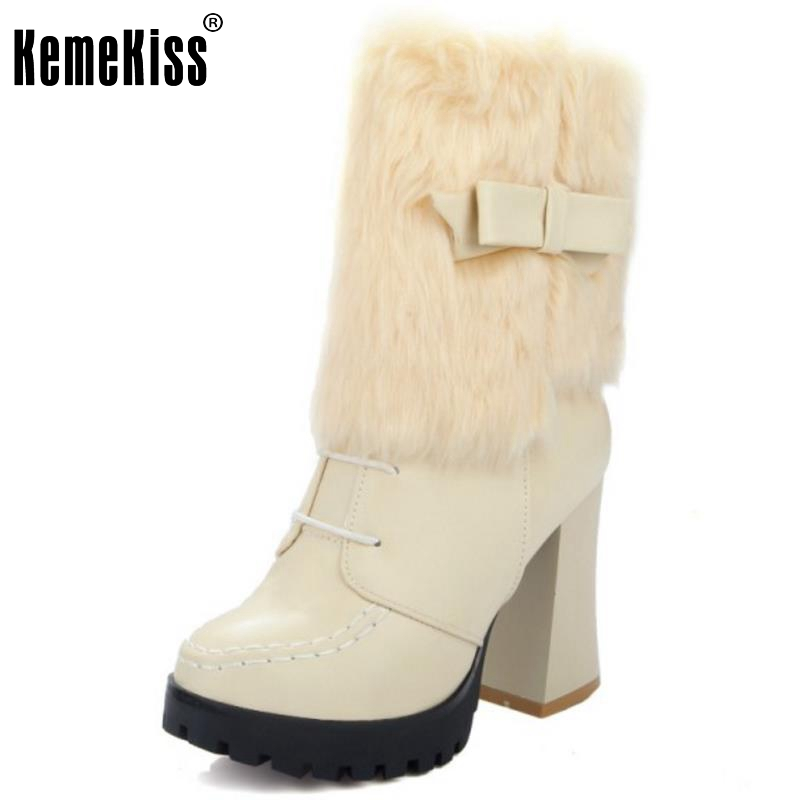 Brand New Women Round Toe Platform Mid Calf Boots Woman Retro Bowtie Thick Heel Botas Winter Warm Fur Heels Shoes Size 33-44 women warm winter shoes wedges round toe platform lace up mid calf boots fashion square heel botas mujer