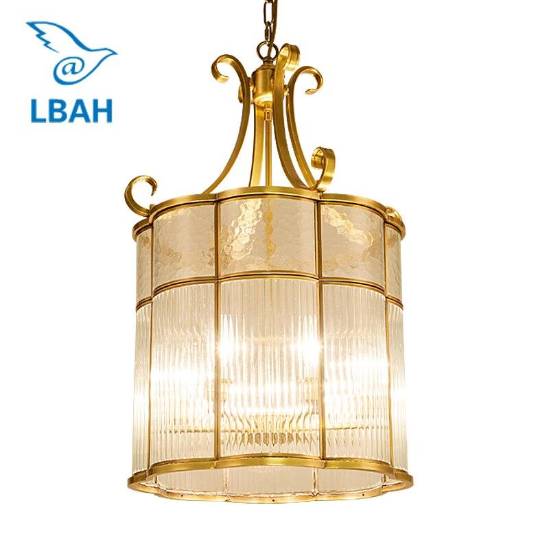 Кристалл статьи село ресторан освещение французский романтический спальня вся медь стекло подвесной светильник