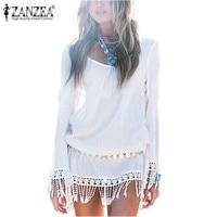 European Women Fashion Dress 2015 Summer Long Sleeve Chiffion Lace Tassel White Vestidos Plus Size Mini