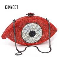Rode Vrouwen Clutch Bag Crystal eye Lady Koppelingen Elegante Shinny Strass Avond Diamant Tassen Wedding Portemonnees Groothandel SC023