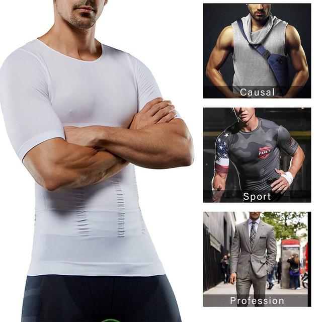 Lover Beauty Men Slimming Body Shaper Vest Shirt Abs Abdomen Slim Compression Shirt Tummy Control Weight Loss Tank Top Shapewear 4