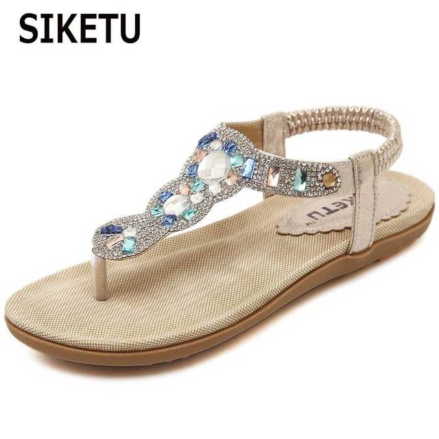 cf0214f8d9115c SIKETU Women S Sandals New Rhinestone Popular Elements PU Material Flip  Flops Beach Women S Sandals Size 35 41-in Low Heels from Shoes on ...