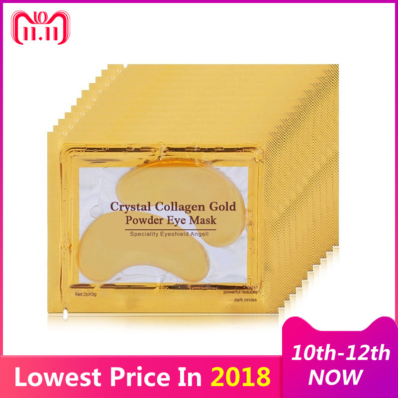 16pc=8pair 24K Gold Eye Mask for Face Mask Dark Circles Remover Crystal Collagen Eye Mask Anti-Wrinkle Patches for the Eyes Care pilaten 5pcs crystal eyelid mask anti wrinkle dark circles eye bag remover black eye face skin care moisturizing eye care mask