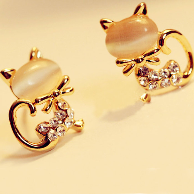 saatleri 2017 Fashion Cute Cat Stone Crystal Rhinestone Women Ear Stud Jewelry Lady Crown Ear Stud Jewelry Freeshipping