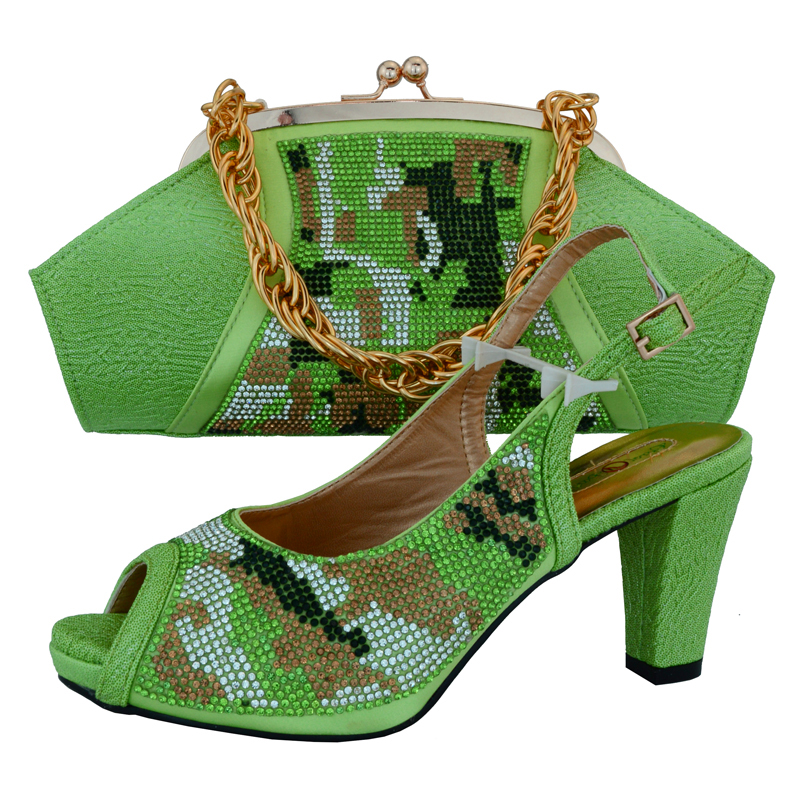 SB8075 MINT GREEN LOVELY 3.5 INCHES HEEL WOMEN SANDAL SHOES WITH MATCHING CLUTCHES BAG WITH MANY STONES HIGH HEEL SHOES BAG SET