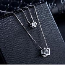 ANENJERY 925 ayar gümüş kare küp zirkon gerdanlık bildirimi kolye kadınlar için çift katmanlı kolye ve kolye S-N209