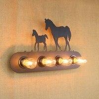 Repliki projektant styl pismo znak zwierząt Ściana Światło lampy Kinkiety przemysłowe Oprawy oświetlenia na łóżku bar kawiarnia