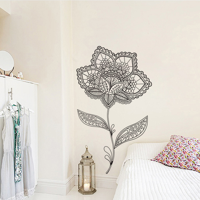 Mehndi Wall Stickers Home Decoration Vinyl Wall Decals Flower Mandala Lotus  Wall Mural Pattern Design
