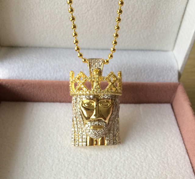 High quality bead chain 600+ Simulated diamonds jesus piece Christ the Redeemer bling hip hop mens necklace