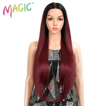 Magci Hair High Temperature Fiber Hair For Women Ombre Dark Roots To Red Color Hand Tied Straight Type Synthetic Lace Front Wigs