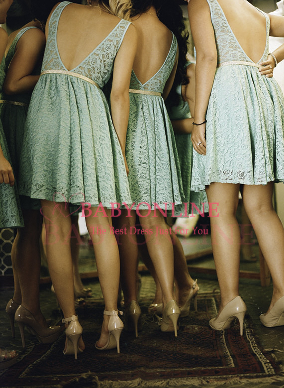 2016 New Arrival Country Style Mint   Bridesmaid     Dresses   Open Back Short Lace   Bridesmaid     Dress   Knee Length BO5628