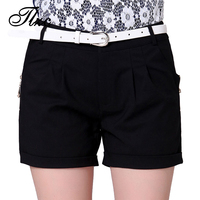 Hot 2015 Summer Women Shorts Top Quality Size S 2XL Black Color Straight Style Lady Short