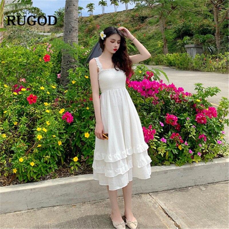 RUGOD 2019 Spaghetti sangle femmes robe col carré élégant solide en cascade ébouriffé taille haute robe d'été modis vestido verano