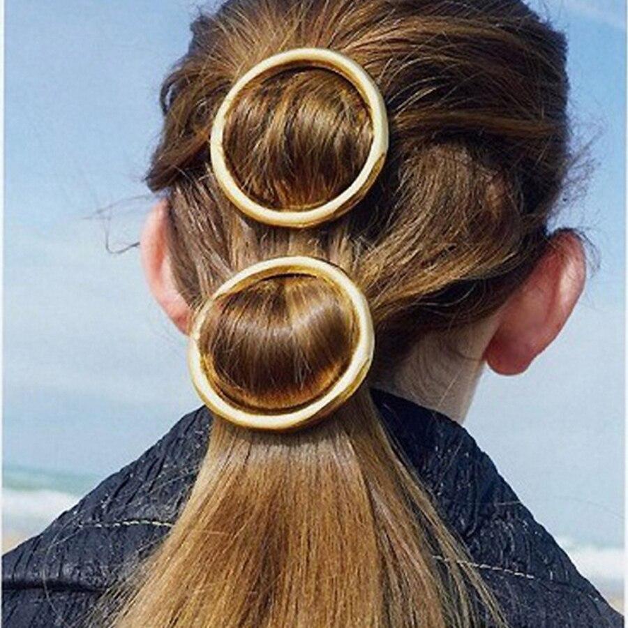 Haimeikang Women Girl Hairpin Fashion Jewelry Gold Color Hollow Round Circle Hair Clip Barrette Wedding Party Hair Accessories