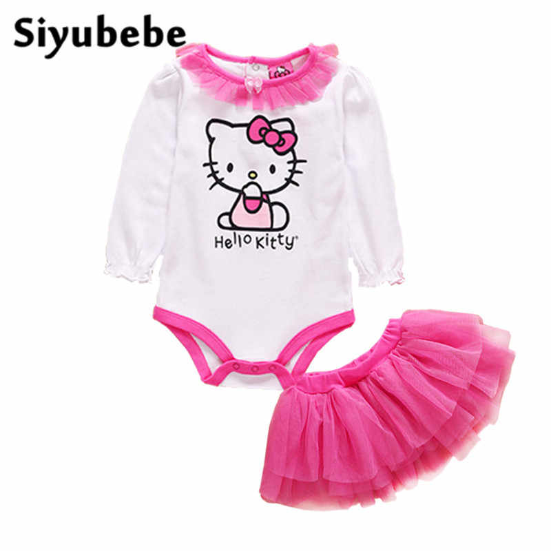 0a110bb9eb01 Newborn Baby Girl Clothes Set Infant Pink Princess Hello Kitty Long Sleeve  Jumpsuit + Tutu Dress