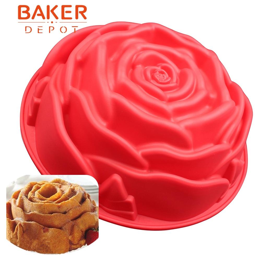 장미 실리콘 케이크 금형 큰 케이크 베이킹 도구 bakeware 매들린 과자 주형 장미 빵 푸딩 금형 생일 파티 케이크 금형