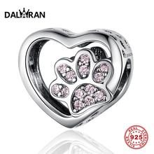 DALARAN Pink Cats Footprints Charms 925 Sterling Silver Beads Fit DIY Bracelets Necklaces Never Fade For Women Jewelry Making