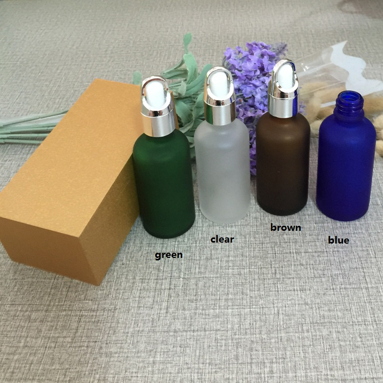 4pcs 50ml frosted glass bottle empty  dropper bottle With wooden box,silver cap essential oil bottle, perfume subpackage jar illusion money box dream box money from empty box wonder box magic tricks props comedy mentalism gimmick