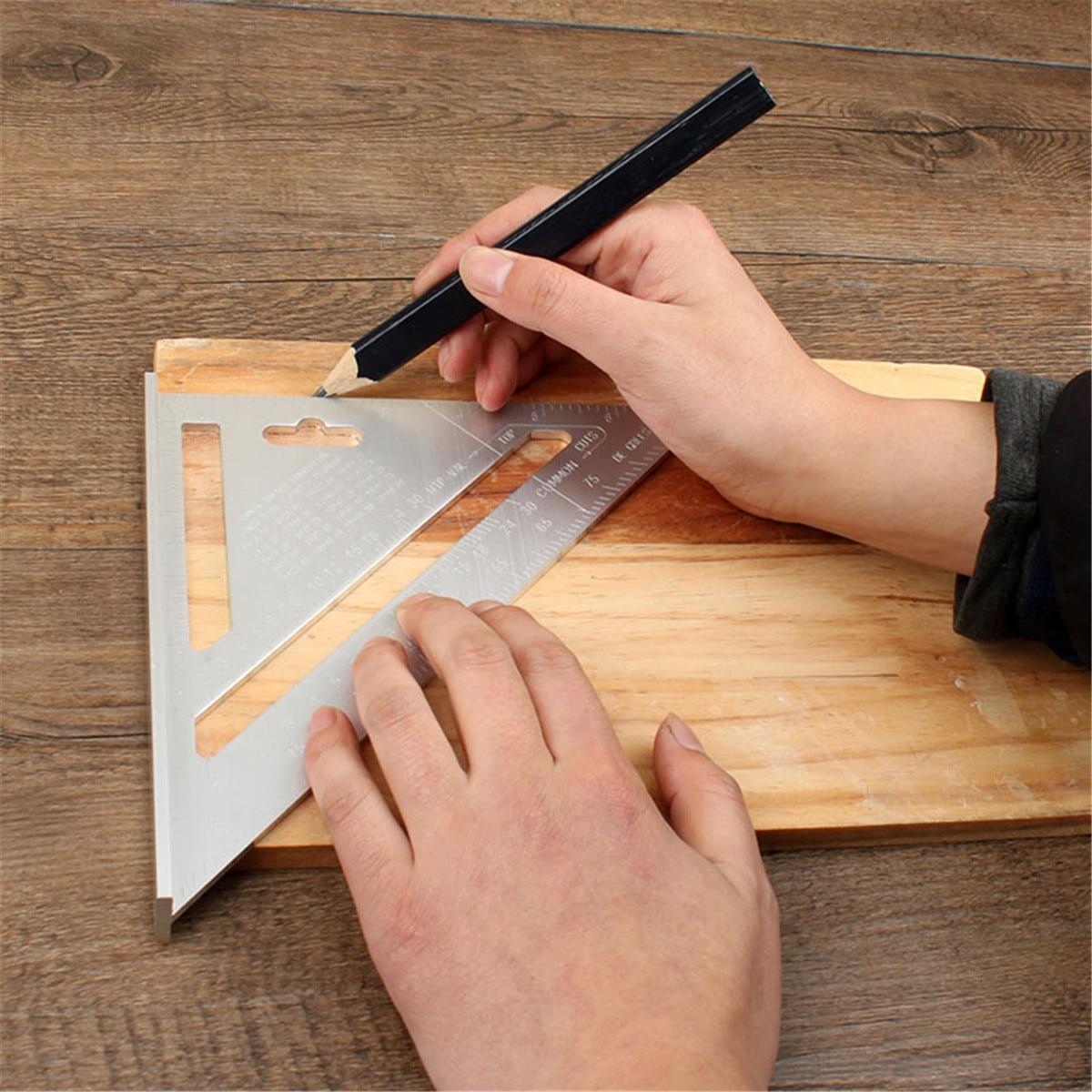 JIGUOOR Multi-Usage 200mm Alloy Speed Square Protractor Miter Framing Tri-square Line Scriber Saw Guide Measurement Carpenter