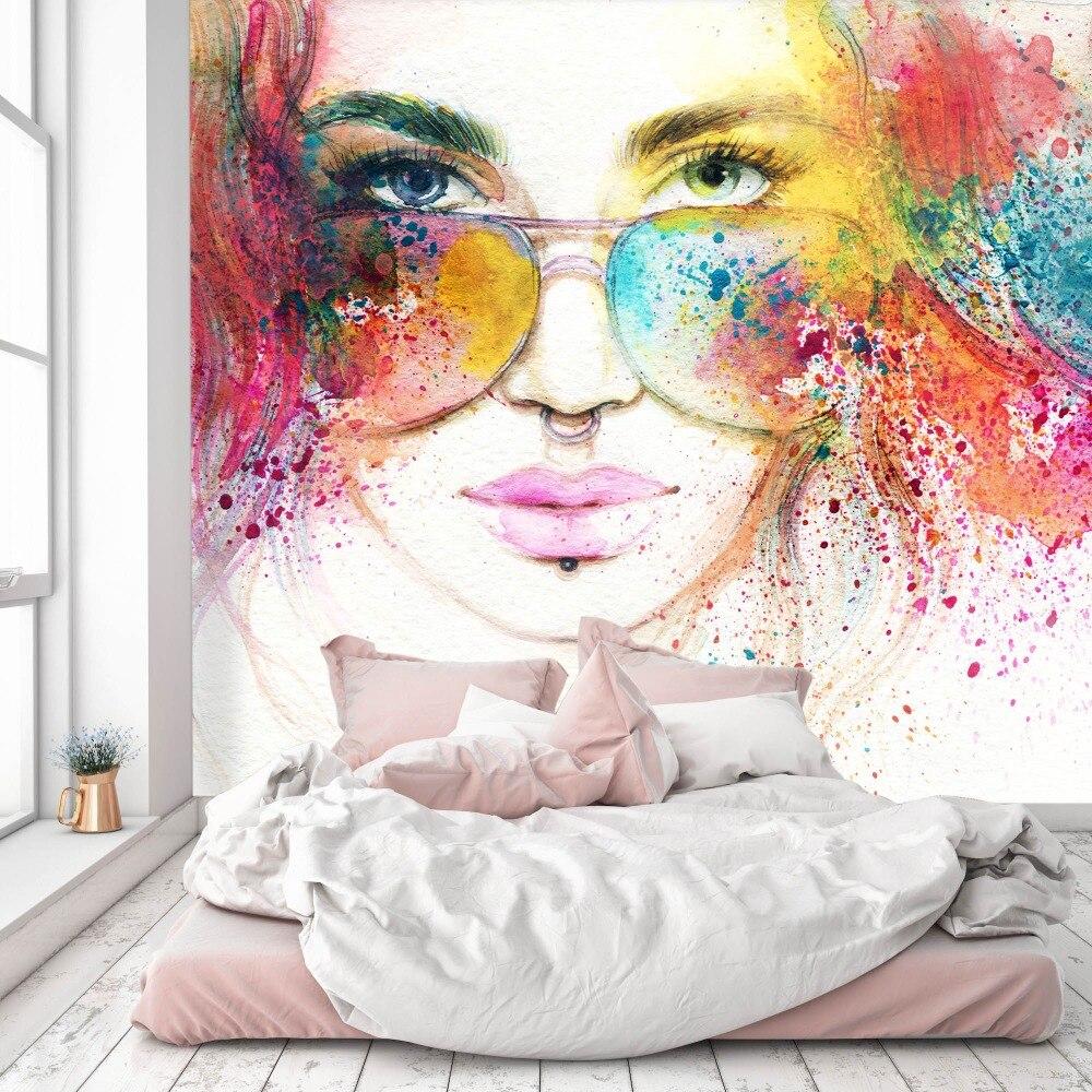 [Self-Adhesive] 3D Watercolors Sunglasses Girl 66 Wall Paper Mural Wall Print Decal Wall Murals