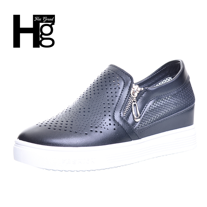 HEE GRAND 2017 Fashion Women Shoes Spring Casual Shoes Cut outs Height Increasing Woman Platform Shoes Size 35-39 XWC1210 hee grand fashion height increasing women shoes zip white black women casual pumps wedges shoes drop shipping xwc471