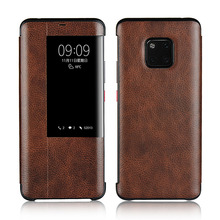 LUCKBUY For Huawei Mate 20 Ultra Thin Flip Case Window View Slim Premium Genuine calfskin Leather for Pro