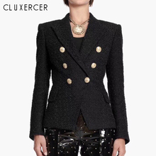 Tweed Blazer Women 2019 New Fashion Double Breasted Long Sleeve black blazer Woman Spring Autumn Elegant Slim Office Lady Blazer blazer feminino stripe slim fit women long sleeve spring autumn office lady blazer mujer 2019 women outwear hjj801930