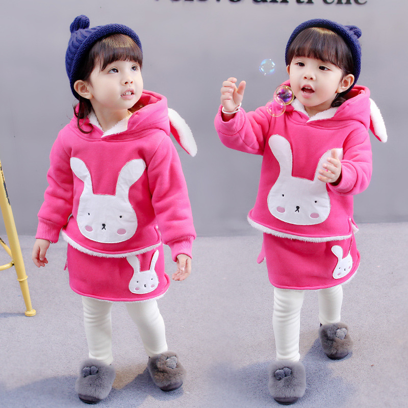 Anlencool Baby girl 2019 winter suit and cashmere clothing three sets of false thickened infants 6 24 months baby girl clothing