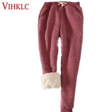 Толстые бархатные утепленные штаны Для женщин зимние Повседневное Эластичный шнурок на талии Штаны свободные однотонные шорты C407