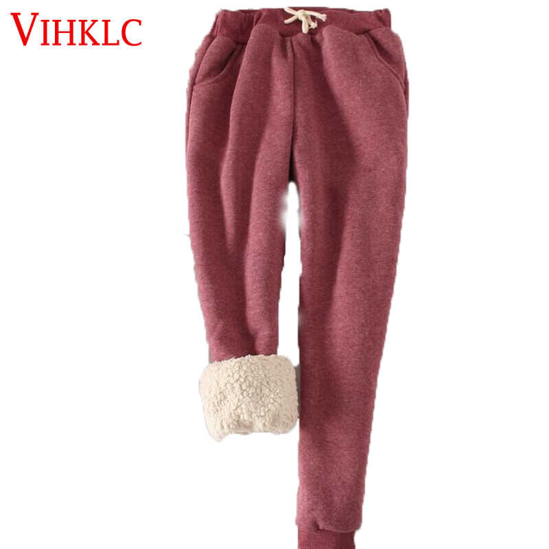 Thick Velvet Warm Pants Trousers Women 2019 Winter Casual Drawstring Elastic Waist Pants Loose Solid Sweatpants  C407