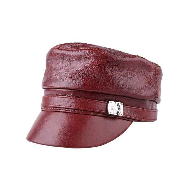 2921fe99ffa Xongkoro Ladys Full Grain Cow Leather Military Cap Girls Flat Top Navy Hat  Women Superior Cowhide. placeholder ...