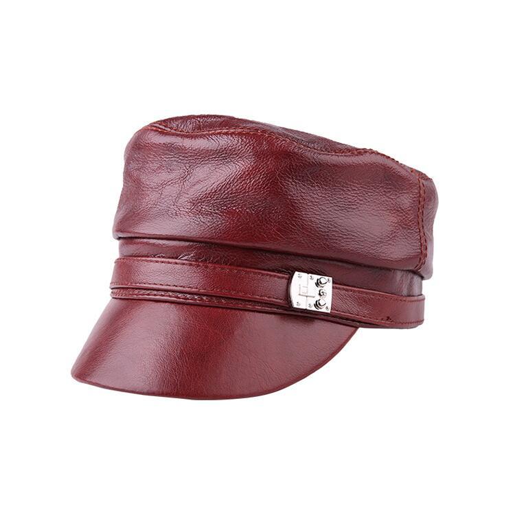Xongkoro Ladys pleine fleur cuir de vache casquette militaire filles haut plat bleu marine chapeau femmes supérieure peau de vache ancienne mode armée casquette noir rouge