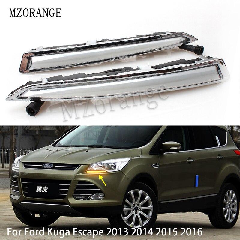 MZORANGE 1Pair For Ford Kuga Escape 2013 2014 2015 2016 Daytime Running Light DRL LED Fog Lamp Yellow Turning Signal Functions