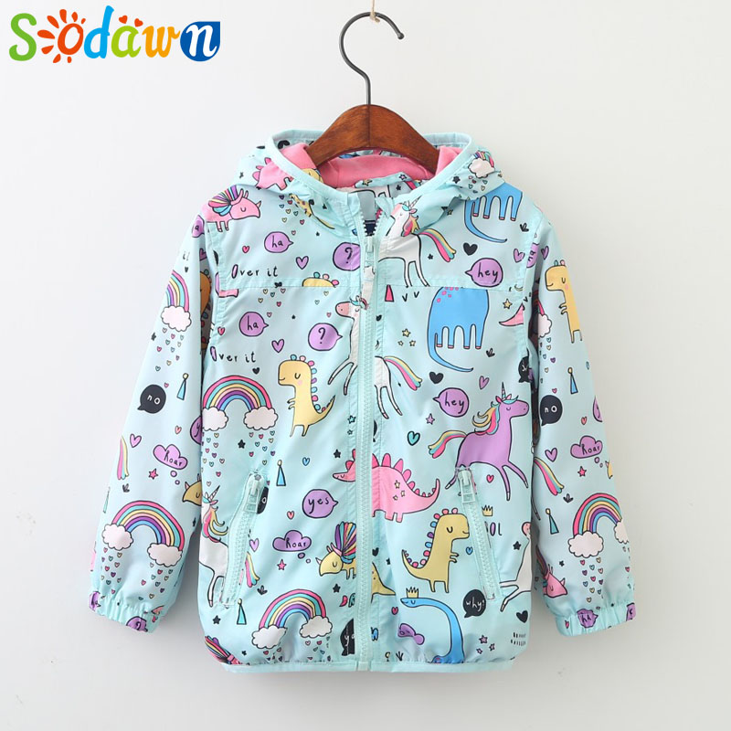 Sodawn Girls Clothes Spring Autumn Cartoon Doodle Cat Print Hooded Zip Jacket 2018 New Fashion Kids Jackets Baby Girls Coat