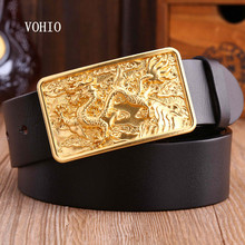 VOHIO gold Dragon Designer Luxury Brand Belts for Mens Genuine Leather Male Jeans Vintage Fashion Solid Brass Buckle square120cm