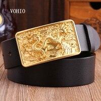 VOHIO Gold Dragon Designer Luxury Brand Belts For Mens Genuine Leather Male Jeans Vintage Fashion Solid