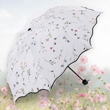 Fashion Women Folding Umbrellas Quality Classic Flowers Sunny and Rainy Umbrella Small Portable Sun Parasol
