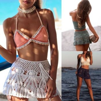 Womens Summer Handmade Lace Crochet Bikini Bottoms Skirt Solid Color Hollow Out Knitted Swimsuit Cover Up Ethnic Pattern Mini A- 6