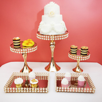 5pcs/ set pearPearl cake stand set paper cup holder mirror decorative plate high end wedding supplies
