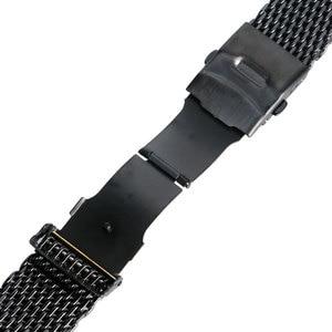 Ремешок для часов из нержавеющей стали, черный, 18 мм/20 мм/22 мм/24 мм, с кнопками, модный ремешок для часов для мужчин и женщин