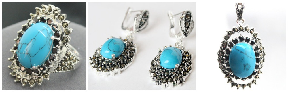 Vintage Blue Stone 925 Sterling Silver Marcasite Ring (#7-10) pendant and earrings sets 07