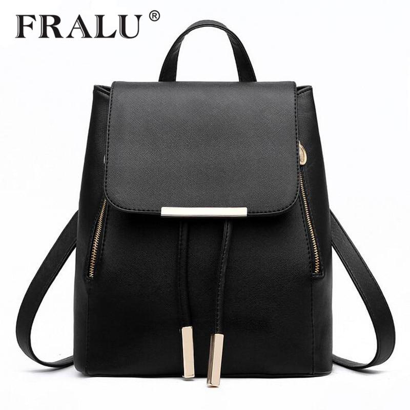 FRALU Women Backpack High Quality PU Leather Mochila Escolar School Bags For Teenagers Girls Top-handle Backpacks Herald Fashion