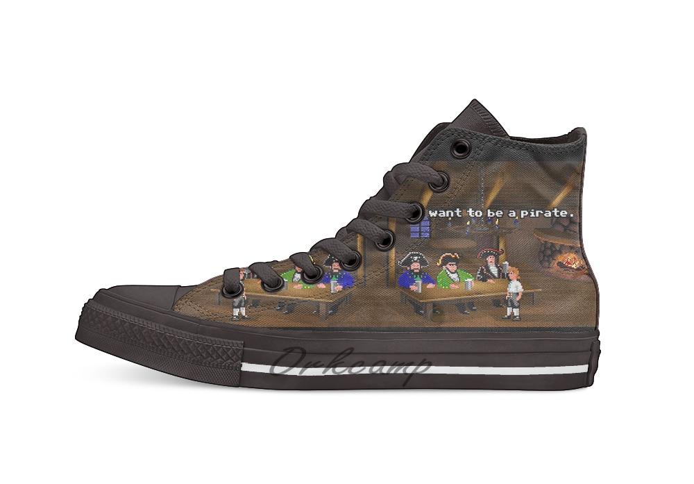 Я хочу быть пиратом! (Остров обезьян 2) Новинка Дизайн Повседневная парусиновая обувь на заказ Прямая доставка