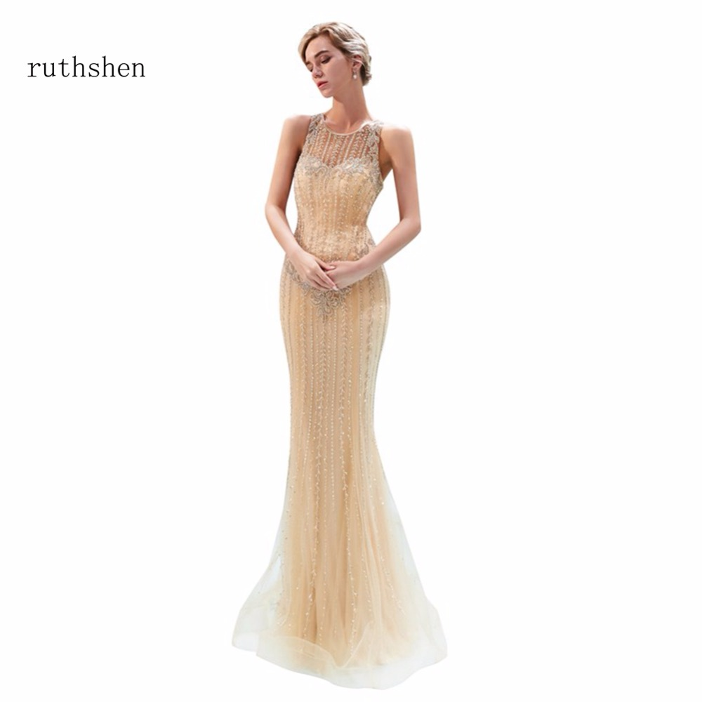 ruthshen 2018 Hot Sale   Prom     Dresses   Illusion Mermaid Long Floor Length Formal Evening   Dress   In Stock Party Gowns Sleeveless